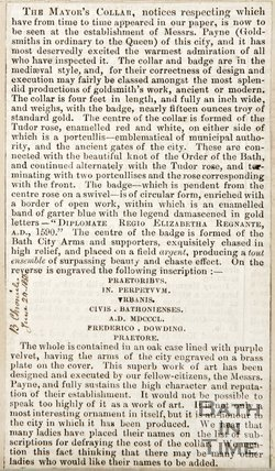 Newspaper article describing the Mayor's collar, 1850
