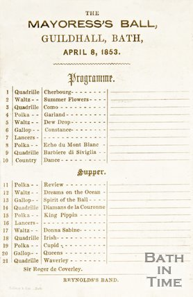 Dance programme to the Mayoress's Ball, 1853
