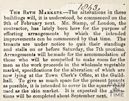 Newspaper article announcing alterations at the Bath markets, 1863