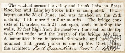 Newspaper article announcing completion of the A36 Limpley Stoke viaduct, 1834
