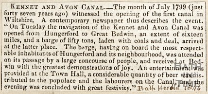 Newspaper article celebrating the opening of the Kennet and Avon canal in 1799, 1847