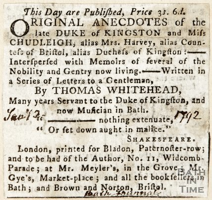 Newspaper article advertising the book concerning the Duke of Kingston, by Thomas Whitehead, 1792
