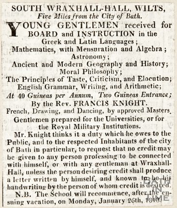 Newspaper article advertising the South Wraxall Hall for the Education of Young Gentlemen, 1818