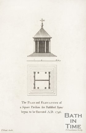 Plan and elevation of a square pavilion for Bathford Spaw
