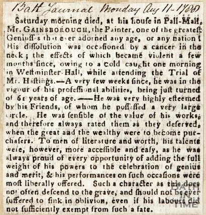Newspaper article concerning Mr. Gainsborough's neck cancer, 1788