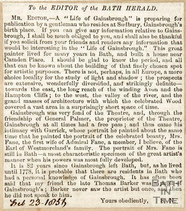 Newspaper article concerning the life of Thomas Gainsborough, 1856