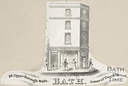 22, Upper Borough Walls. Bath Corner of Union Street, 1860?