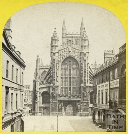 The west front of Bath Abbey from Abbey Church Yard, Bath c.1868
