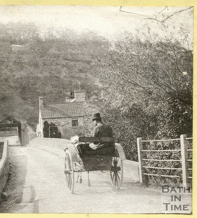 A horse drawn trap crossing the bridge, Limpley Stoke c.1870