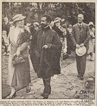 Haile Selassie at a garden party at The Roseries, Englishcombe, nr Bath, July 1937