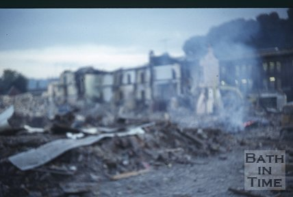 Southgate Street, Bath , demolition, (out of focus) Nov 1971