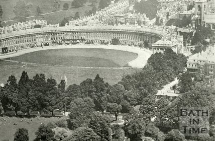 Aerial view of the Royal Crescent and St Andrews church, Bath, c.1930s