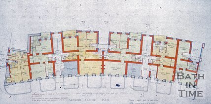Architect's drawing for the construction of Norfolk House, 1-7 Norfolk Crescent, Bath, 4th March 1957