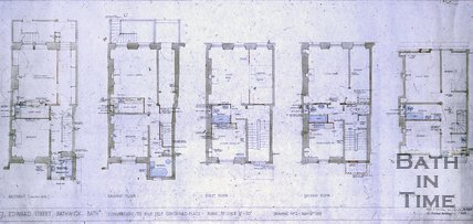 Architect's drawing for the conversion of 7 Edward Street into five self contained flats, November 16th 1959