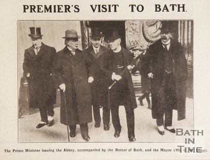 Prime Minister Lloyd George outside Bath Abbey after the wedding of his son, April 1917