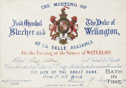 Ticket For A Private Viewing Of The Meeting Of Field Marshal Blucher And The Duke Of Wellington, 1815
