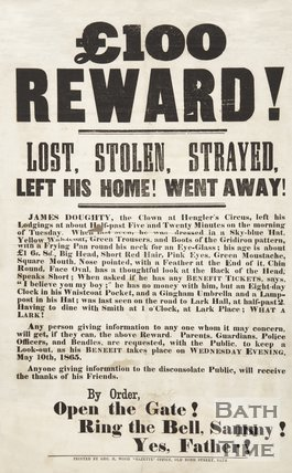 Poster Advertising A Benefit For Clown James Doughty, Hengler's Circus In The Style Of A Missing Person Poster, 1865
