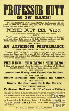 Poster Advertising The Performance Of Professor Butt's Extraordinary Feats At The Porter Butt Inn, Walcot, Bath, 1862