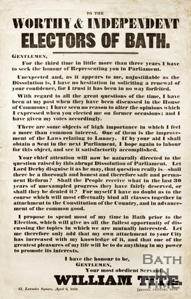 Poster Requesting Re-election To Parliament, By William Tite, Liberal M.P. For Bath, 1859