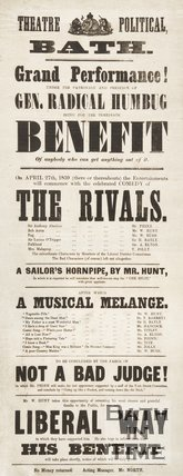 Satirical Election Poster  In The Style Of A Theatre Poster, 1859