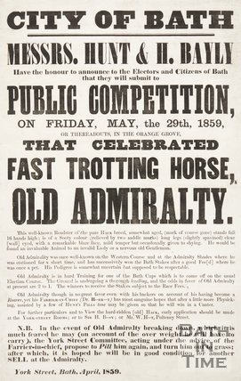 Humorous Election Poster Satirising Prospective Candidate Thomas Phinn As 'Fast Trotting Horse Old Admiralty', 1859