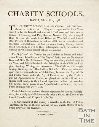 Advert For Charity Schools, 1789