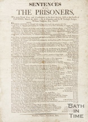 Notice Of Sentences Of All The Prisoners, 1812