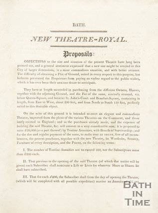 Proposals For The New Theatre-Royal Bath, Before 1805?