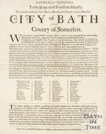Address From The Mayor, Aldermen, And Citizens of Bath To His Majesty King  Charles II, 1660