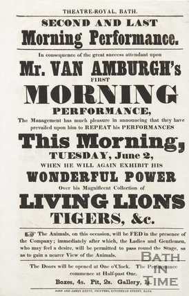Poster For The Exhibition Of Live Lions & Tigers, At The Theatre Royal, Bath