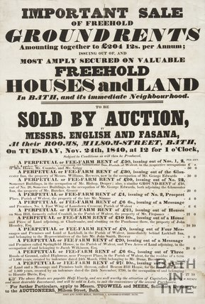 Poster Advertising Auction Of Freehold Houses And Land In Bath, 1840
