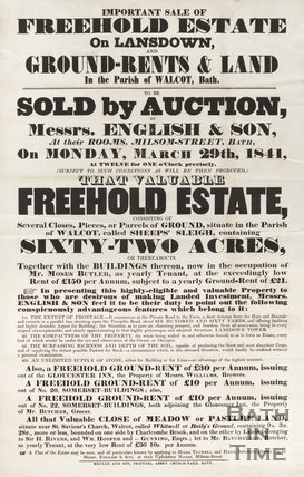 Poster Advertising  Auction Of Freehold Estate, Lansdown And  Walcot, Bath, 1841