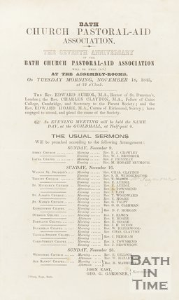 Advertisement For the Seventh Anniversary Of The Bath Church Pastoral-Aid Association, 1845