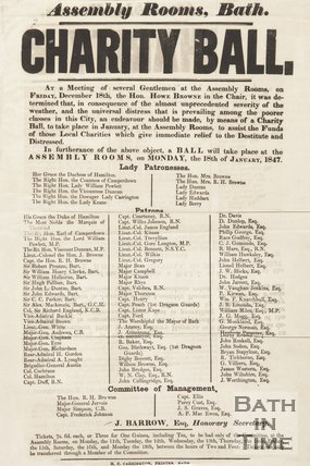 Notice Of A Charity Ball, At The Assembly Rooms, Bath, 1847