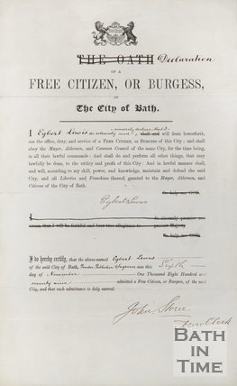 Declaration Of A Free Citizen Or Burgess O The City Of Bath, 1879