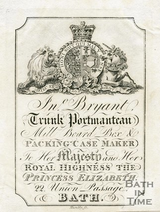 Trade Card for John BRYANT 22 Union Passage, Bath 1819
