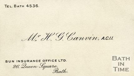 Trade Card for H. G. CANVIN 26 Queen Square, Bath 1939-63