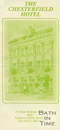 Trade Card for CHESTERFIELD Hotel, 11 Great Pulteney Street, Bath