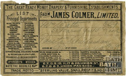 Trade Card for James COLMER Ltd. 6-11, 17, 20 Union Street, 6-9 Union Passage, Bath