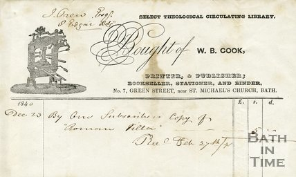 Trade Card for W. B. COOK 7 Green Street, Bath 1840