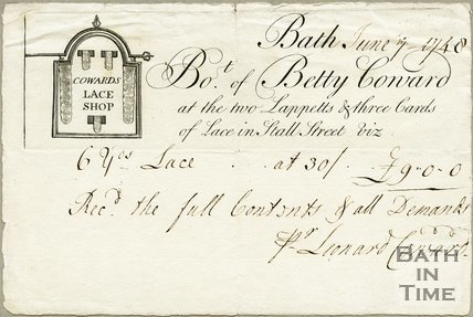Trade Card for Betty COWARD, Stall Street, Bath 1748