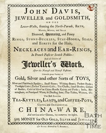 Trade Card for John DAVIS Lower Walks fronting North Parade, Bath 1754