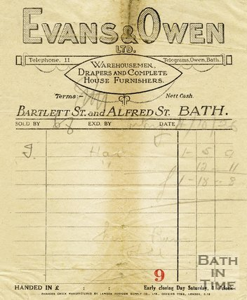 Trade Card for EVANS & Owen Ltd Bartlett Street & Alfred Street, Bath 1926