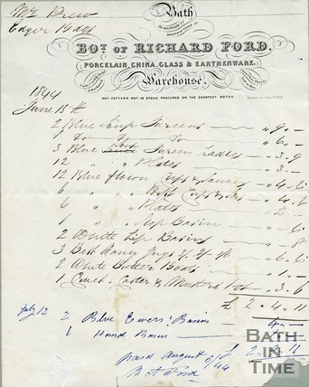 Trade Card for Richard FORD 39 Westgate Street, Bath 1844