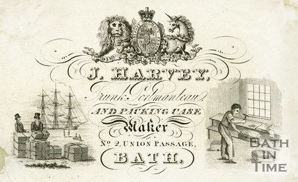 Trade Card for J. HARVEY 2 Union Passage, Bath 1850?
