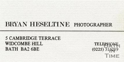 Trade Card for Brian HESELTINE 5 Cambridge Terrace, Widcombe Hill, Bath BA2 6BE 1980s