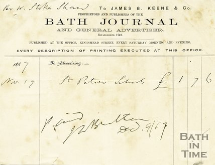 Trade Card for James B. KEENE & Co Kingsmead Street, Bath 1887