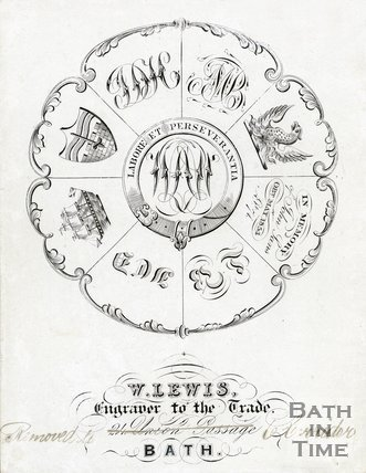 Trade Card for William LEWIS 6 Corridor written in place of Union Passage address, Bath 1854