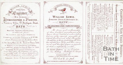 Trade Card for William LEWIS 12 Northgate Street, Bath