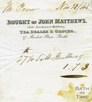Trade Card for John MATTHEWS (late Constance & Matthews) 27 Market Place, Bath 1845